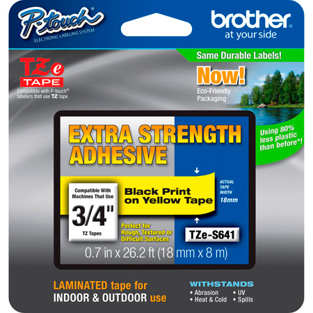 Brother TZeS641 0.7 in x 26.2 ft (18 mm x 8 m) Black on Yellow Extra-Strength