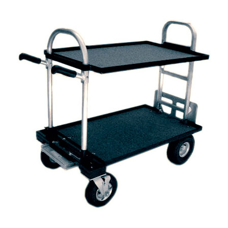 Magliner Junior Cart Modified with 8 Inch Wheels Top and Bottom Shelf