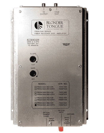 Blonder Tongue FRDA-S4A-860-FA Fiber Optic Receiver/RF Distribution Amplifier