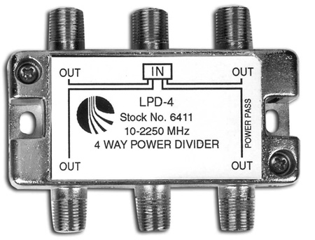 Blonder Tongue LPD-4 4-Way RF Splitter 1 Port Power Passing