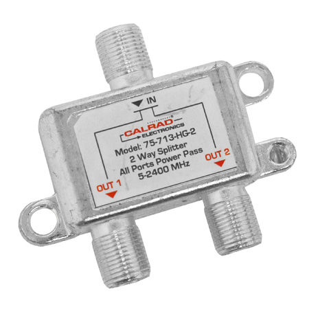 Calrad 75-713-HG-2 Digital Coaxial RF Splitter 5-2400MHz with All Port Power Pass - 2-Way