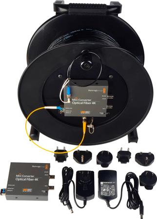 Camplex Tac-N-Go 4K/6G-SDI Fiber Optic Converter/Extender and 1000 Foot Tactical Fiber Cable Reel