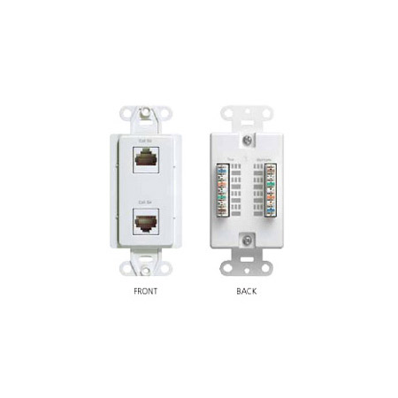 Channel Plus Dual Data Wallplate- 2 CAT5e RJ-45 connectors- Almond