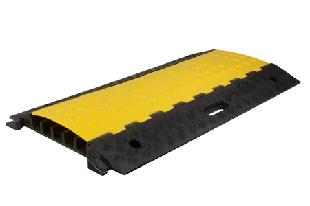 Connectronics 5-Channel Cable Ramp Crossover & Cable Protector - Black with Yellow Lid