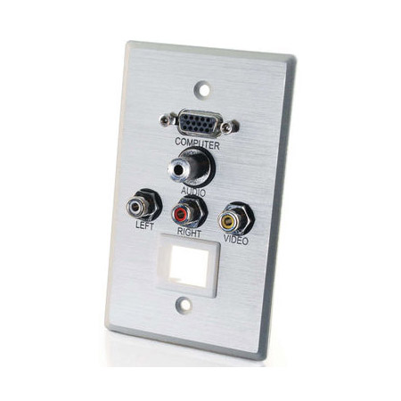 1G HD15 VGA 3.5mm Composite Video Stereo Audio Keystone Wall Plate