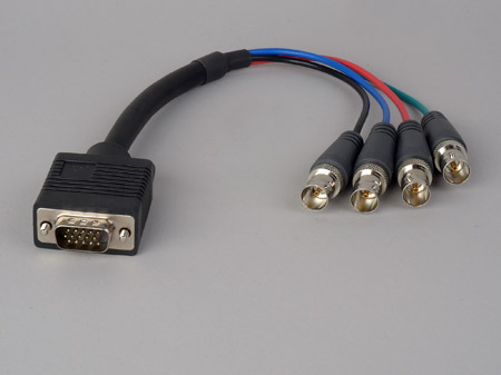 High Density D-Sub 15-Pin VGA Male to 4 BNC Female Cable 1 Foot
