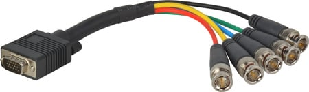HD 15 Pin to 5 BNC Breakout Cable 15 Foot