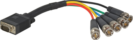 HD 15 Pin to 5 BNC Breakout Cable 6 Foot