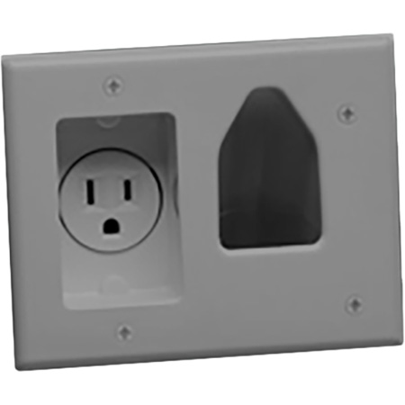Datacomm Electronics 45-0021 Recess Low Voltage Cable Plate w/Power - Gray
