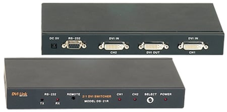 Digital Extender DVI 2X1 Switcher With RS232
