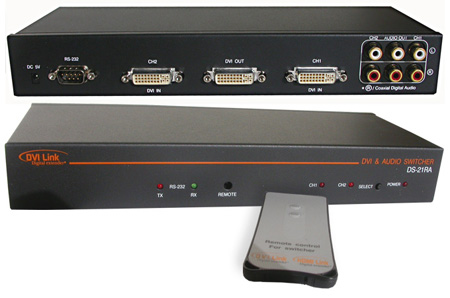 Digital Extender DVI 2X1 Switcher With RS232 (DS21R Plus Audio)