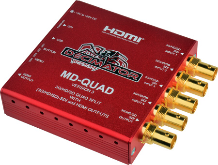 Decimator MD-QUAD Miniature (3G/HD/SD) Quad Split Multiviewer with HDMI - Version 3