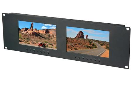Delvcam Dual 7 Inch 3RU VGA & DVI & Composite LCD Video Monitor