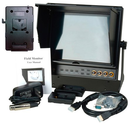 Delvcam 9.7in Dual Input HDMI Monitor and V-Mount Battery Plate
