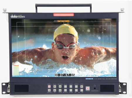 Datavideo TLM-170LM 17.3 Inch LCD Monitor with 3G/HD-SDI and HDMI Inputs - 1U Rack Mount Pull out Flip Up