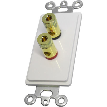 White Decora Wall Plate with 2 Gold Banana Plugs