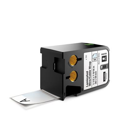Dymo 1868708 XTL 1-1/2-Inch x 1-9/16-Inch (38 mm x 39 mm) Laminated Wire/Cable Wrap - Black on White
