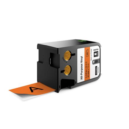Dymo 1868769 XTL 1-1/2-Inch (41 mm) All-Purpose Vinyl - Black on Orange