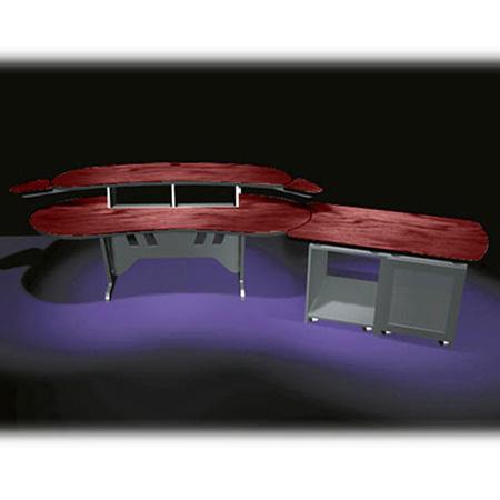 Mid-Atlantic 84 In. Desk w/Overbridge 2 Racks/2-Bay 24-Space Rack (Dark Cherry)