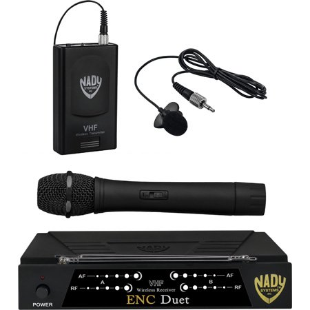 Nady ENC Duet HT/LT/O 2-Channel VHF Wireless Lav/Handheld Mic System - Channel E / F 215.200MHz-203.400 MHz