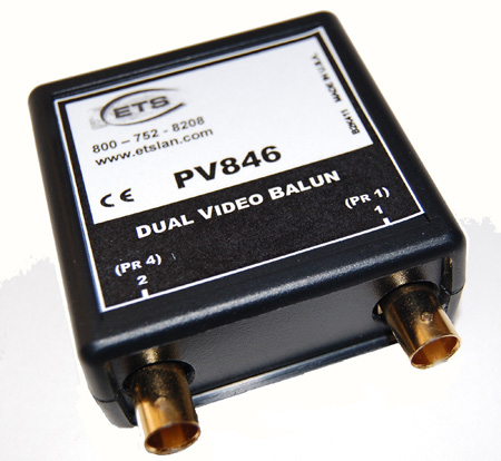 ETS PV846 Dual Baseband Composite Video Over CAT5 Balun - Female BNC to RJ45 Pins 5/4 & 7/8