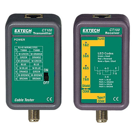 Extech CT100 Network Cable Tester for Twisted Pair (UTP) and RF Cables