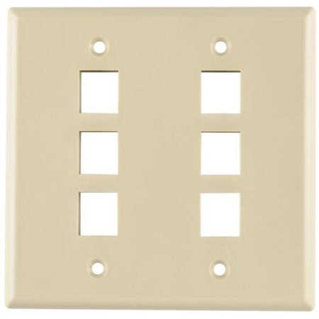 Six Port Dual Gang Flushmount Faceplate White