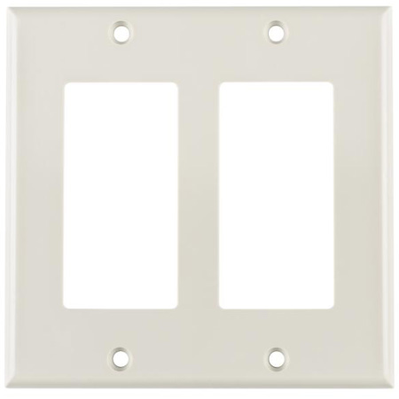 Dual Gang Decora Rectangular Faceplate White