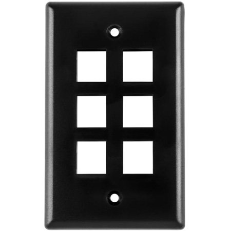 Six Port Flushmount Keystone Faceplate Black