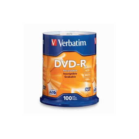 Verbatim 16x DVD-R Media - 100pk 4.7gb Branded Spindle