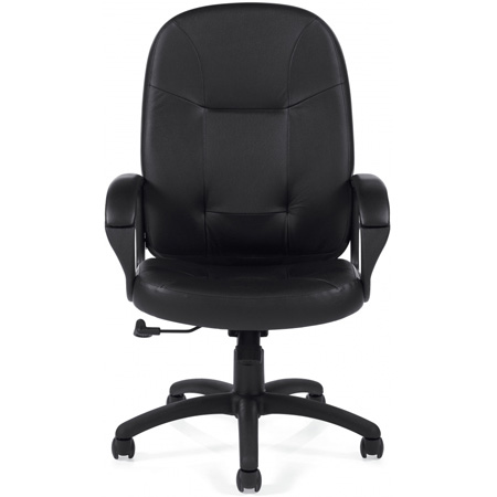 Black High Back Leather Media Chair 17-21 Inch Seat Height