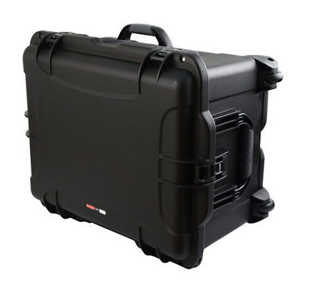 Gator GU-2217-13-WPNF Black Injection Molded Case with Pullout Handle and Inline Wheels - No Foam