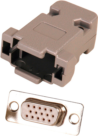 15-Pin HD Female D-Sub Connector with Plastic Hood  (DJ15HD and DE15B)