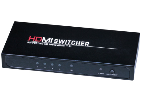 4X1 Enhanced HDMI Switch with Built-In Cable Equalizer & IR Remote Control