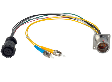 Camplex LEMO EDW to Dual ST & 8-Pin Amp Power Fiber Breakout Cable 6 Inch