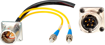 Camplex LEMO EDW to Dual ST & 5-Pin RG Inline Fiber Breakout Cable 6 Inch