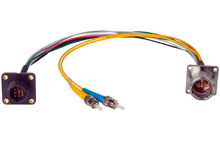 Camplex LEMO EDW to Dual ST & 8-Pin RG Chassis Fiber Breakout Cable 12 Inch
