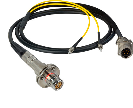 Camplex LEMO FMW to Dual ST & 5-Pin RG In-Line Fiber Breakout 15 Foot