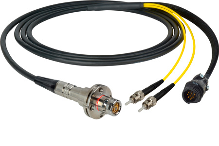 Camplex LEMO FMW to Dual ST & 8-Pin RG In-Line Fiber Breakout 50 Foot