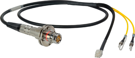 Camplex LEMO FMW to Dual ST & 6-Pin RG In-Line Fiber Breakout 6 Foot