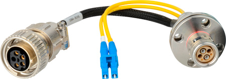 Camplex LEMO FXW to Dual ST & 5-Pin Amp Power Fiber Breakout Cable 6 Inch