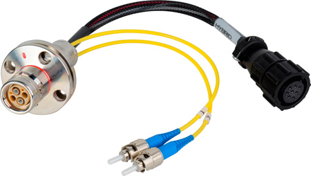 Camplex LEMO FXW to Dual ST & 8-Pin Amp Power Fiber Breakout Cable 24 Inch
