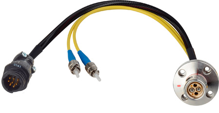 Camplex LEMO FXW to Dual ST & 8-Pin RG Inline Fiber Breakout Cable 18 Inch