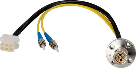 Camplex LEMO FXW to Dual ST & 6-Pin RG Chassis Fiber Breakout Cable 24 Inch