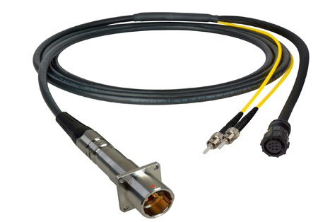 Camplex LEMO PBW to Dual ST & 8-Pin Amp In-Line Fiber Breakout 25 Foot
