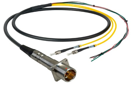 Camplex LEMO PBW to Duplex LC & Blunt Lead In-Line Fiber Breakout 25 Foot