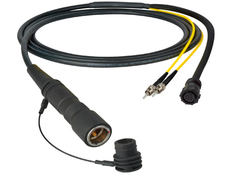 Camplex LEMO PUW to Duplex LC & 8-Pin Amp In-Line Fiber Breakout 50 Foot