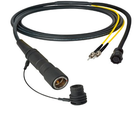 Camplex LEMO PUW to Dual ST & 8-Pin Amp In-Line Fiber Breakout 10 Foot