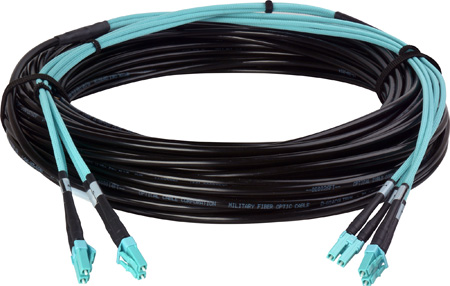 Camplex 4-Channel LC Multi Mode OM3 Fiber Optic Tactical Snake - 100 Foot