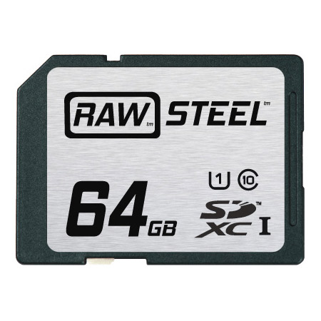 Hoodman RAWSDXC64GBU1 Raw Steel Class 10 SDHC Card - 64GB